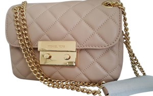 Michael Kors Quilted Chain Lock Quilted Leather Lambskin Cross Body Bag