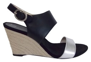 Anne Klein Sandals Color Block New Black Silver Wedges