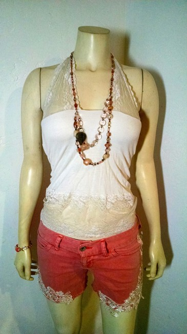 Guess Size 26 P1254 Lace Cut Off Shorts pink, white