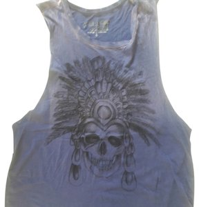 Urban Outfitters Project Social Skull Distressed Oversized Top BLUE Distressed