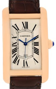 Cartier Cartier Tank Americaine Large 18K Rose Gold Brown Strap Watch W2609156