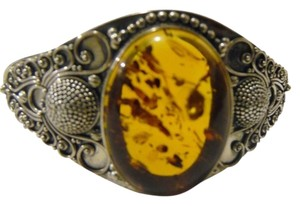 Artisan Hand Crafted Balinese Design .925 Amber Sterling Silver Adjustable Cuff Bracelet Size 7