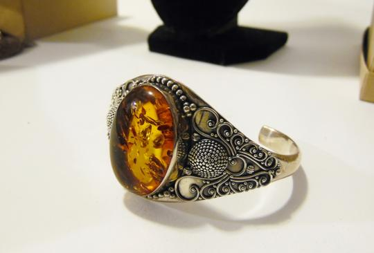 Other Artisan Hand Crafted Balinese Design .925 Amber Sterling Silver Adjustable Cuff Bracelet Size 7