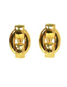 Chanel Chanel Large Goldtone Chain Link Clip On Earrings