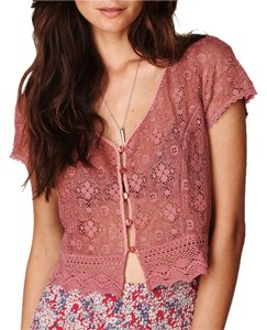 Free People Eyelet Festival Classic Cropped Embroidery Floral Crochet Top Pink