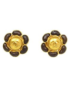 Chanel Chanel Goldtone & Wooden Flower Clip On Earrings