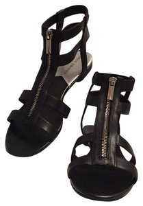 Audrey Brooke Leather Pet And Smoke Free Zipper Starps Black Sandals