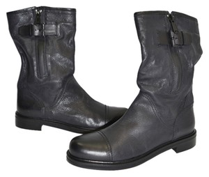 Aquatalia by Marvin K. Riding Moto Biker BLACK LEATHER Boots