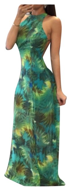 Item - Green with Prints 6 Long Casual Maxi Dress Size 12 (L)