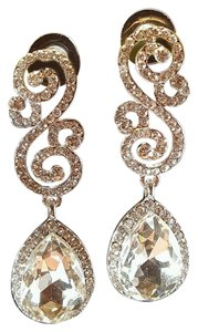 Bridal Geometric Austrian Crystal Tear Drop Earrings Pierced