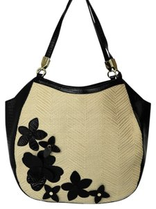 Brahmin Straw Leather Cute Tote in White and Black