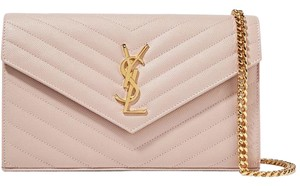 db84a2ecb6a7b Saint Laurent Chain Wallet New Ysl Monogram Pale Pink Calfskin Shoulder Bag