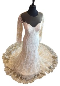 Essense of Australia Ivory Lace and Tulle Over Cafe Gown Stella York 6176 Wedding Dress Size 10 (M)