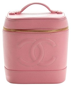 Chanel Rare Auth CHANEL Vintage Caviar Vanity Cosmetic Case Pink Excellent
