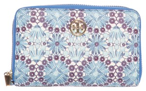 Tory Burch Textured Leather Blue Floral Print Zip-Around Wallet