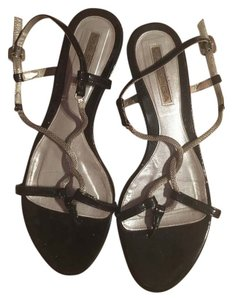 Via Spiga Slim Heel Black Patent Leather with Silver Mesh Straps Sandals