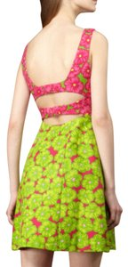Nanette Lepore short dress hot pink & lime Size 10 Cotton on Tradesy