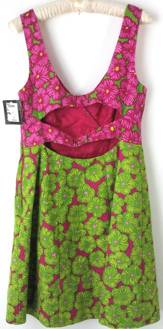 Nanette Lepore short dress hot pink & lime Size 10 Cotton Sundresses Summer on Tradesy