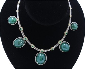 165.43CT Natural Columbian Emerald 14k White And Yellow gold Neckalce