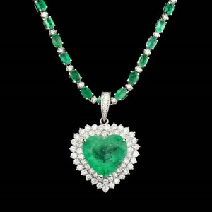 Other 13.75CT NATURAL COLUMBIAN EMERALD 18K W/G PENDANT AND CHAIN