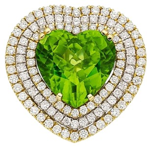 Other GIA 12.54CT NATURAL BURMA PERIDOT 18K WHITE AND YELLOW GOLD RING