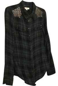 Equipment Grommet Studded Plaid Button Down Shirt navy