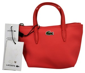 Lacoste Leather Mini Tote in deep sea coral
