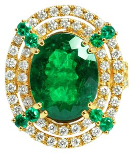 6.58ct COLUMBIAN EMERALD 18K YELLOW GOLD RING