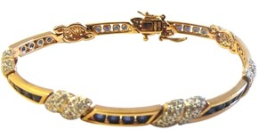 Technibond Technibond Created Blue Corundum and Diamond-Accented X-Link Bracelet Size 7