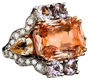 Other GIA 10.42CT NATURAL ORANGE CEYLON SAPPHIRE 18K WHITE AND ROSE GOLD RIN