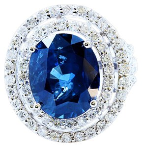 GIA 12CT No Heat NATURAL BLUE CEYLON SAPPHIRE 18K WHITE GOLD RING