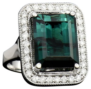 12.90CT NATURAL INDICOLITE TOURMALINE 14K WHITE GOLD RING