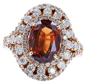 3.44CT NATURAL MALAYA GARNET 18K ROSE GOLD RING