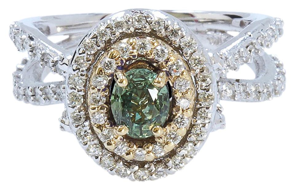 6388aef191813 Other 0.83CT Natural ALEXANDRITE 14K WHITE AND YELLOW GOLD RING Image 0 ...
