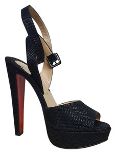 Christian Louboutin Glitter Hidden Platform black Sandals