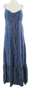 Denim Maxi Dress by Free People Boho Bohemian Maxi