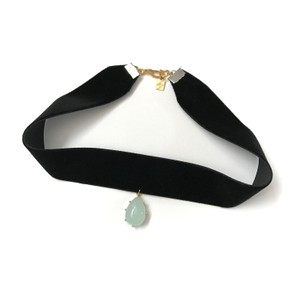 Elliot Francis Mint Stone and Velvet Choker