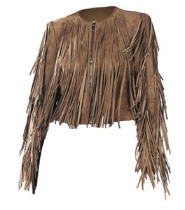 BCBGMAXAZRIA Boho Short Fringed Coat Leather Brown Leather Jacket