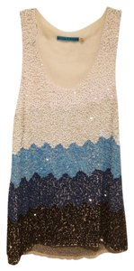 Alice + Olivia Ombre Tank Sequin Top Blue