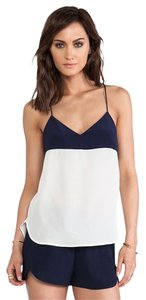 Trina Turk Silk Top Whitewash & Indigo