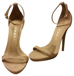 Burberry Python Formal Beige Ankle Strap Nude Sandals