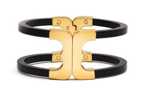 Tory Burch Tory Burch New Gemini Link Black Hinged Cuff