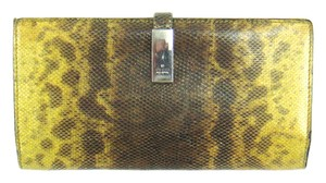 Gucci Snakeskin Leather Long Bifold Wallet w/ Snap Closure Italy