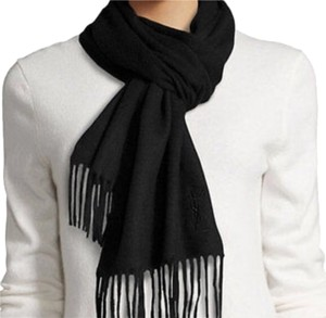Saint Laurent YSL Yves Saint Laurent Black Wool Scarf