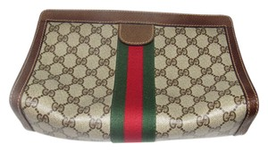 Gucci Cosmetic Great For Travel Velcro Top Closure Mint Vintage Accessory Col brown leather/large G logo print coated canvas & red/green stripe Clutch