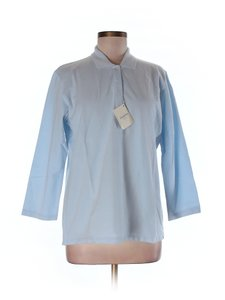 Brooks Brothers Button Front Cotton Blend Stretchy 3/4 Sleeves Button Down Shirt Pale Blue