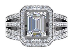 Other New 4.5CT 2pc Emerald Cut 925 Silver Wedding Ring Set