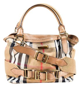 Burberry Tan Red Black Canvas Satchel in Multi-Color