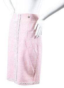 Chanel Light Wool Tweed Frayed Trim Straight Skirt Pink