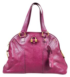 Saint Laurent Yves Leather Gold Tone Large Muse Satchel in Purple